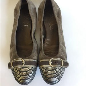 AGL Brown Suede Skin Leather Flats Sz 10.